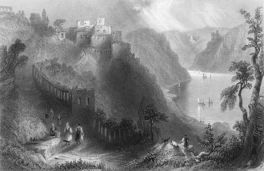 Associate Product RHEINFELS. above St Goar, Rhine. Wright-Bartlett 1840 old antique print
