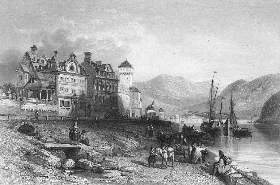 Associate Product GERMANY. Boppard, Rhine. Wright 1840 old antique vintage print picture