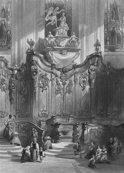 Associate Product GERMANY. Screen in Mainz cathedral, Rhine. Wright 1840 old antique print