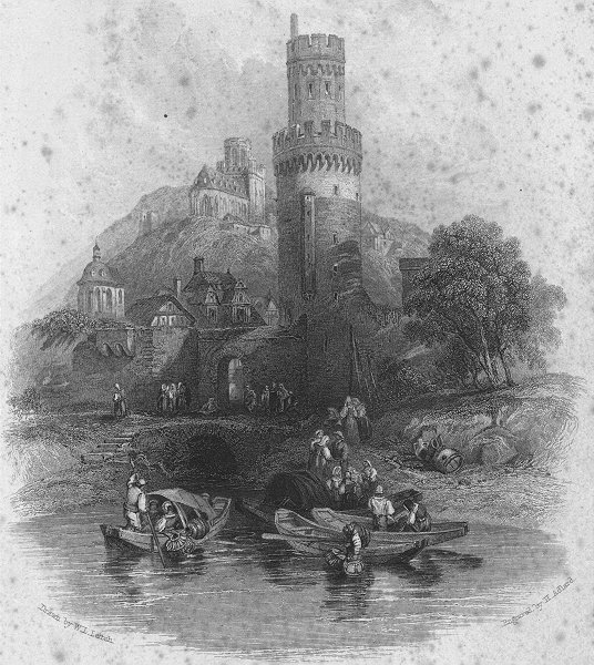 Associate Product GERMANY. Round Tower, Oberwesel. Wright 1841 old antique vintage print picture