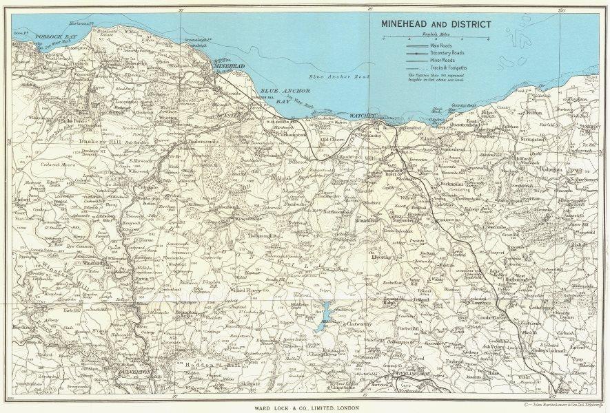 Associate Product MINEHEAD environs. Exmoor Dunster Dulverton Watchet Somerset. WARD LOCK 1965 map