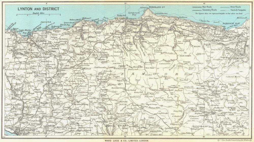 Associate Product LYNTON environs. Exmoor. North Devon coast. WARD LOCK 1965 old vintage map
