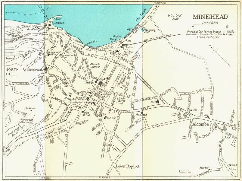Associate Product MINEHEAD vintage town/city plan. Somerset. WARD LOCK 1965 old vintage map