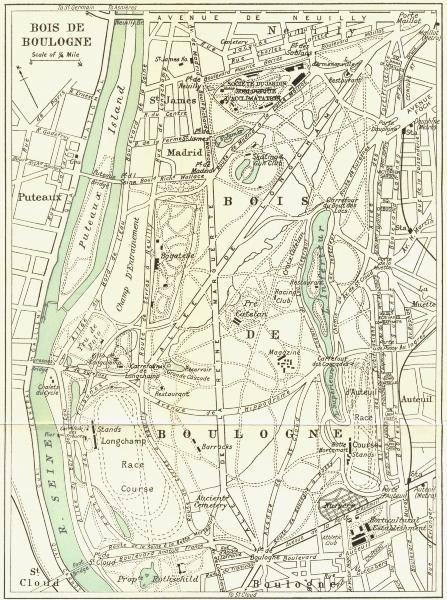 Associate Product BOIS DE BOULOGNE vintage plan. Paris. WARD LOCK 1965 old vintage map chart