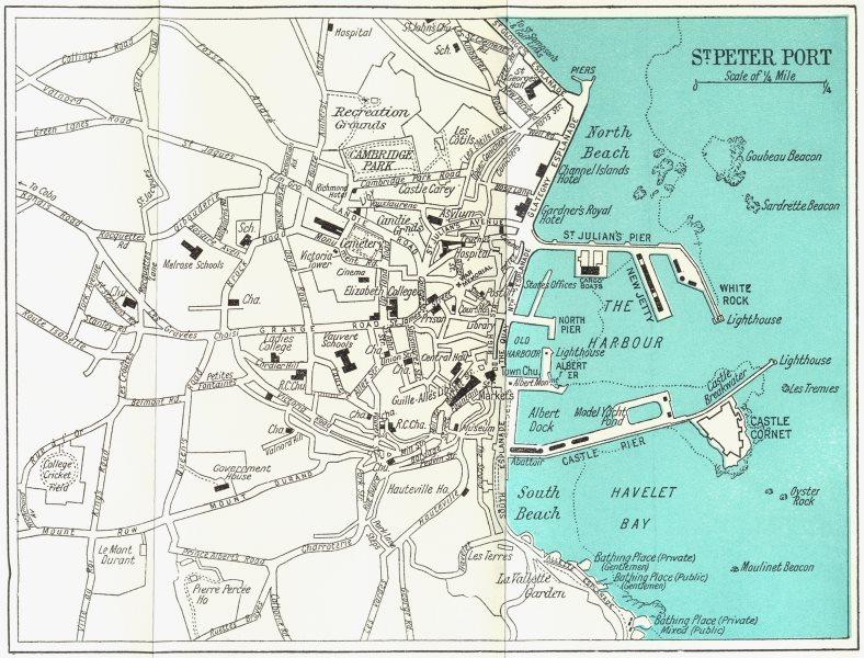 Associate Product ST PETER PORT vintage town plan. Guernsey Channel Islands. WARD LOCK 1964 map