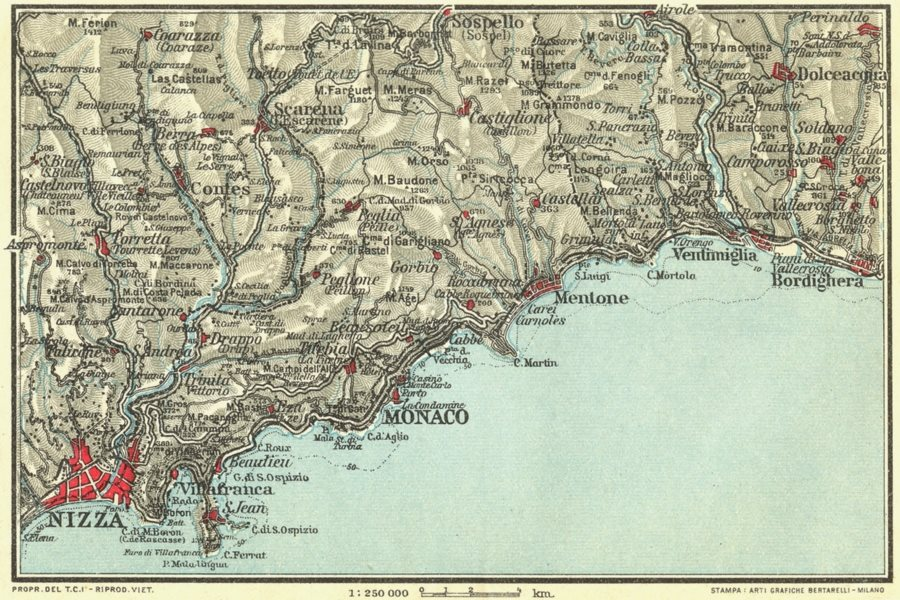 Associate Product CÔTE D'AZUR. Nizza (Nice) Nice Monaco Menton Bordighera Villefranche 1927 map