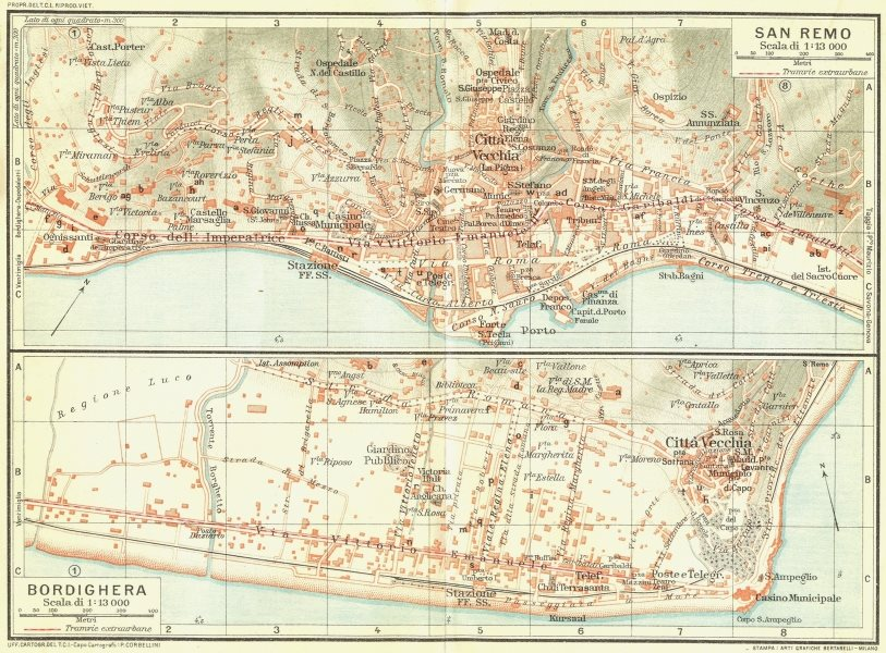Associate Product SAN REMO & BORDIGHERA. Vintage town city map plans. Italy 1927 old vintage