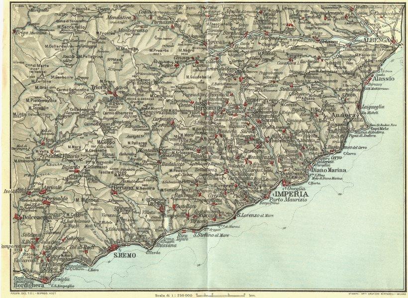 Associate Product ITALIAN RIVIERA LIGURE PONENTE. Bordighera San Remo Porto Maurizio 1927 map