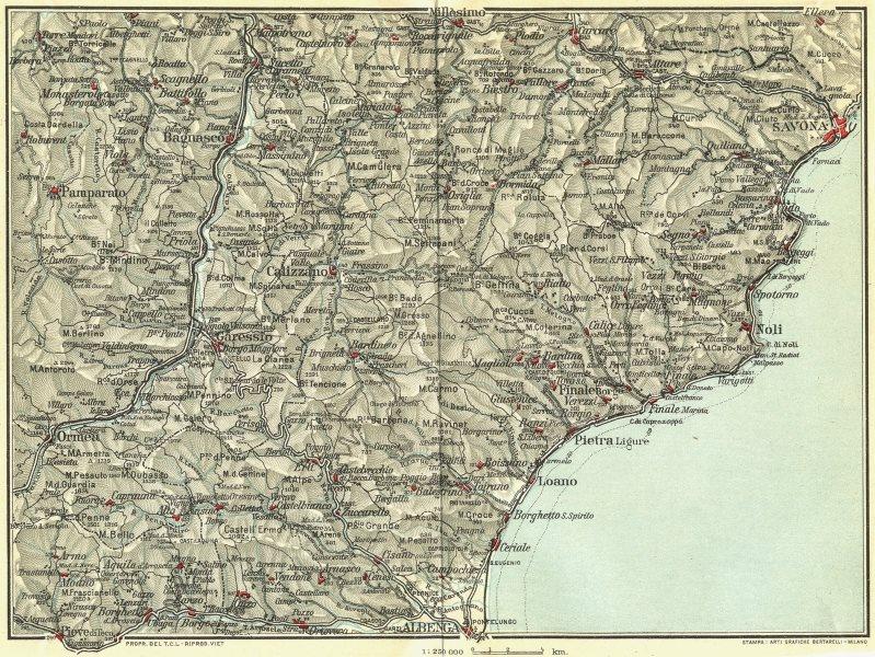Associate Product ITALIAN RIVIERA LIGURE PONENTE. Albenga Savona Noli Pietra 1927 old map