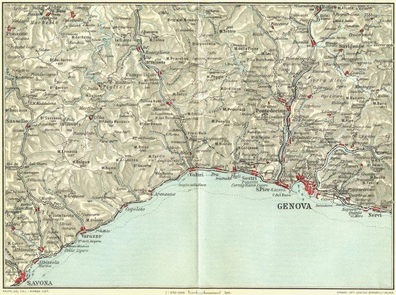 Associate Product ITALIAN RIVIERA LIGURE PONENTE. Genova Genoa Savona Nervi Varazze 1927 old map