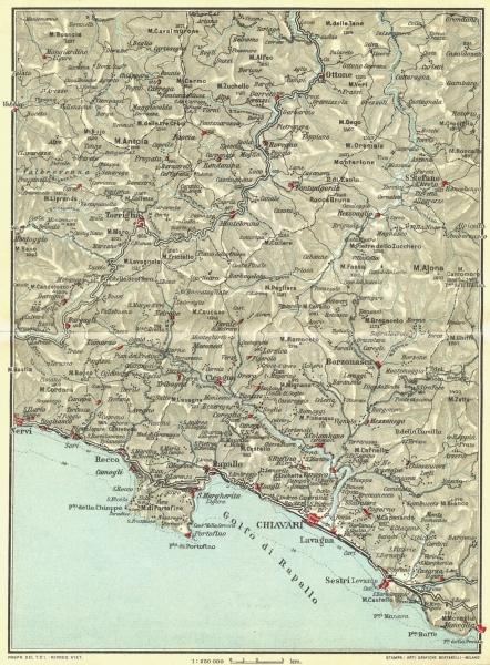 Associate Product ITALIAN RIVIERA LIGURE LEVANTE.Portofino S Margherita Rapallo 1927 old map