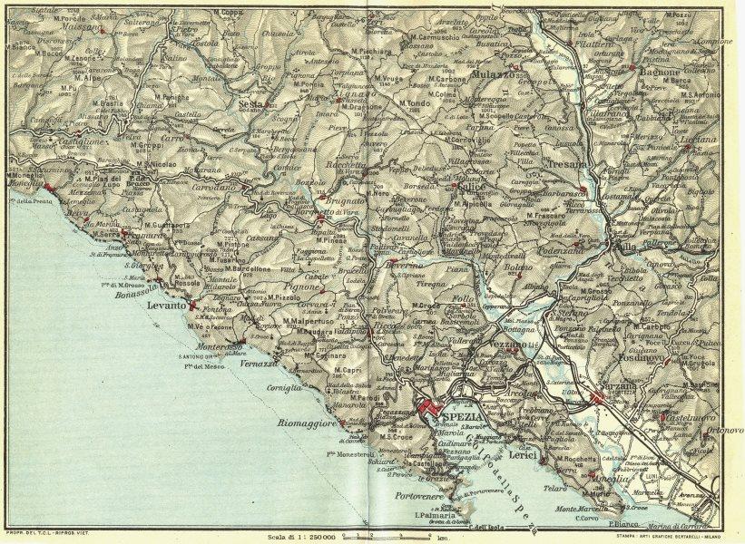 Associate Product ITALIAN RIVIERA LIGURE LEVANTE. La Spezia Levanto Sarzana 1927 old vintage map