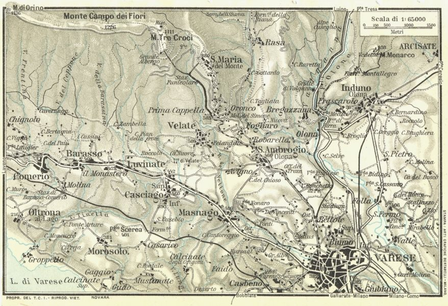 Associate Product VARESE & ENVIRONS. Vintage map plan. Italy 1927 old vintage chart