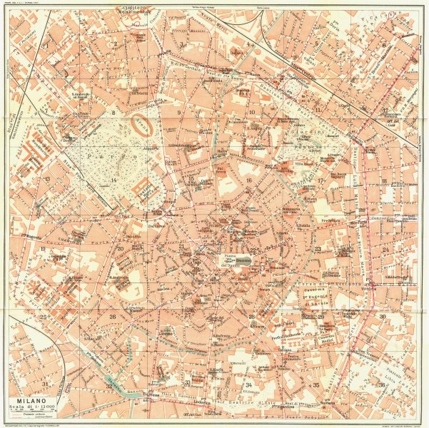 Details about MILAN MILANO  Vintage town city map plan  Italy 1927 old  vintage chart