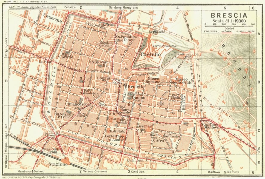 Associate Product BRESCIA. Vintage town city map plan. Italy 1927 old vintage chart