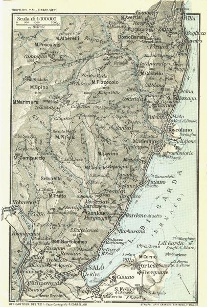 LAKE LAGO DI GARDA. Vintage map plan. Salo. Italy 1927 old vintage chart