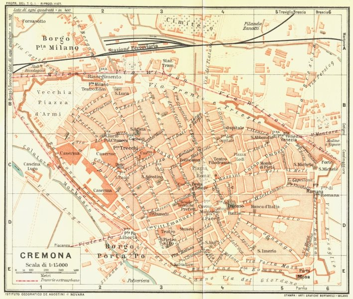 Associate Product CREMONA. Vintage town city map plan. Italy 1927 old vintage chart