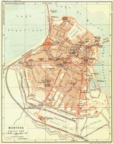 Associate Product MANTOVA (MANTUA) . Vintage town city map plan. Italy 1927 old vintage