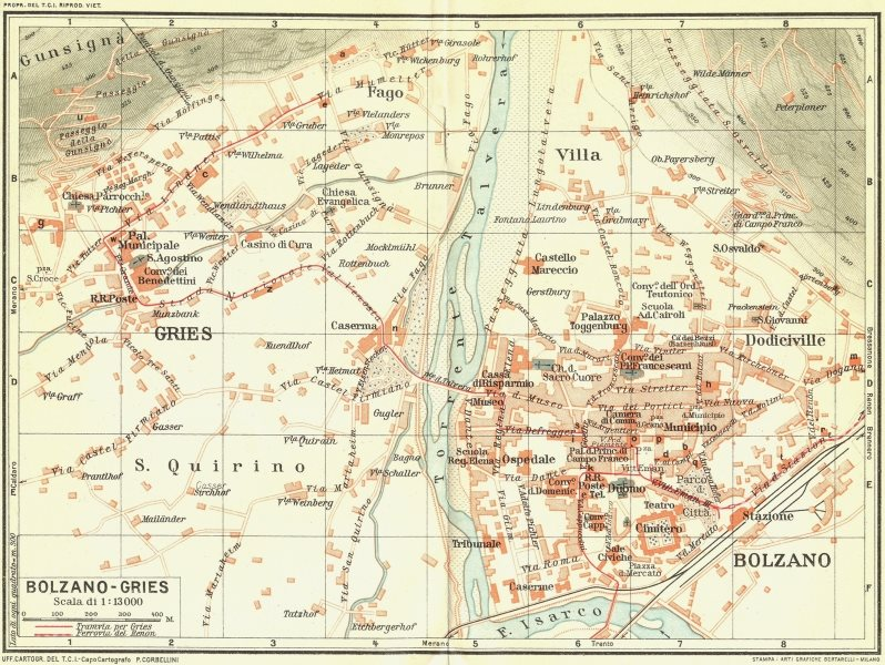 BOLZANO-GRIES. Vintage town city map plan. Italy 1927 old vintage chart