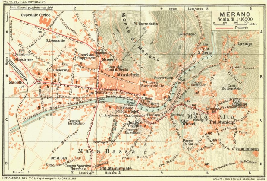 Associate Product MERANO. Vintage town city map plan. Italy 1927 old vintage chart