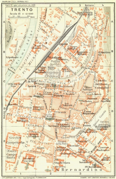 Associate Product TRENTO. Vintage town city map plan. Italy 1927 old vintage chart