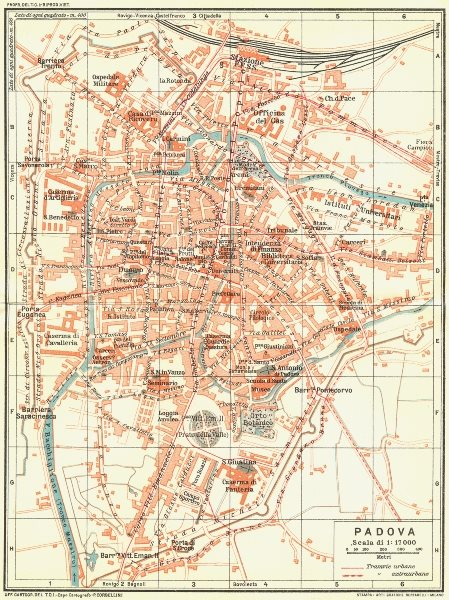 Associate Product PADOVA. Vintage town city map plan. Italy 1927 old vintage chart