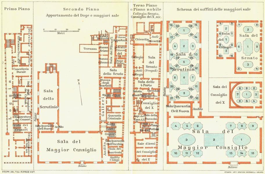 Associate Product VENICE VENEZIA. Il Palazzo Ducale 1927 old vintage map plan chart