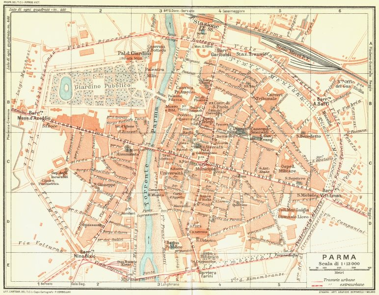 Associate Product PARMA. Vintage town city map plan. Italy 1927 old vintage chart