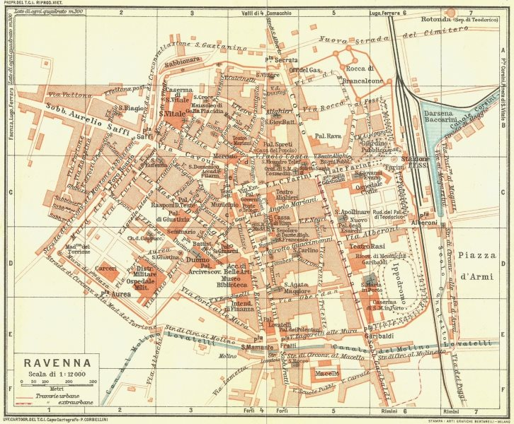 Associate Product RAVENNA. Vintage town city map plan. Italy 1927 old vintage chart