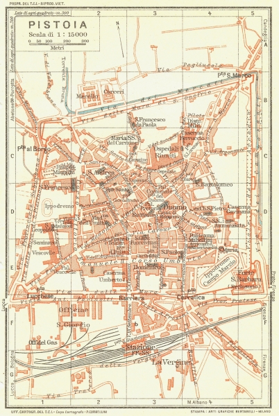 PISTOIA. Vintage town city map plan. Italy 1927 old vintage chart