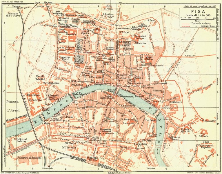 Associate Product PISA. Vintage town city map plan. Italy 1927 old vintage chart