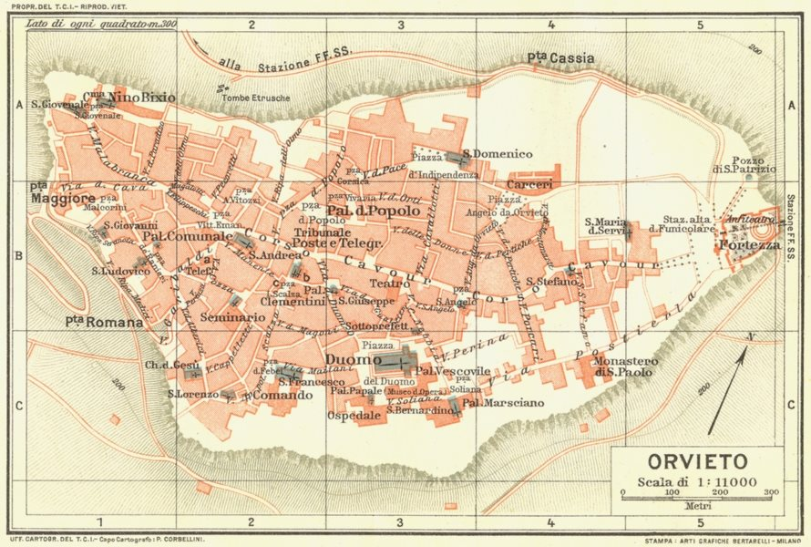 Associate Product ORVIETO. Vintage town city map plan. Italy 1927 old vintage chart