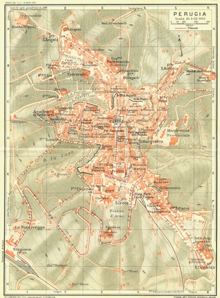 Associate Product PERUGIA. Vintage town city map plan. Italy 1927 old vintage chart