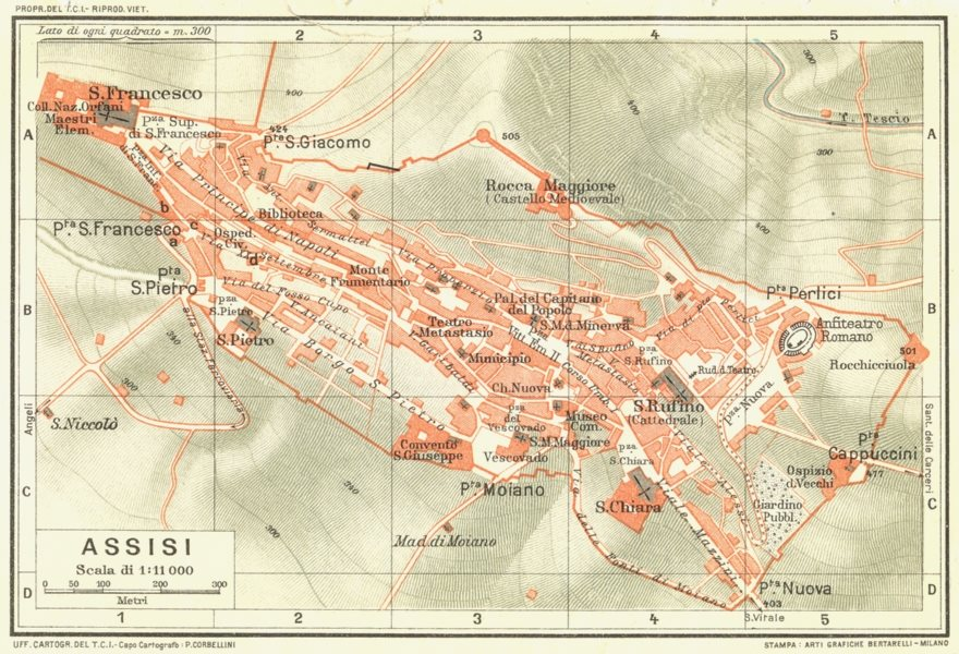 Associate Product ASSISI. Vintage town city map plan. Italy 1927 old vintage chart
