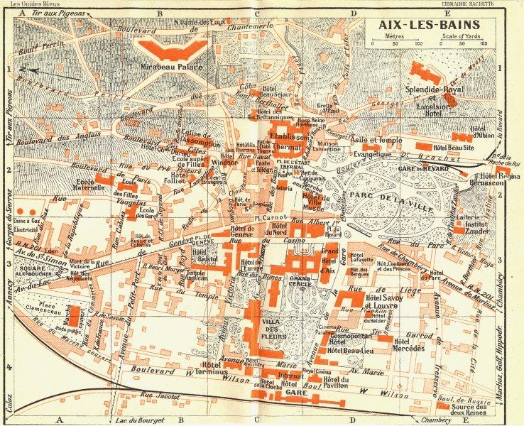 Associate Product FRANCE. Aix-Les-Bains 1926 old vintage map plan chart