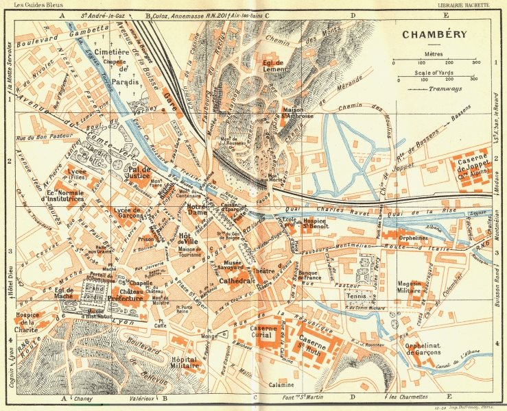 Associate Product FRANCE. Chambery 1926 old vintage map plan chart