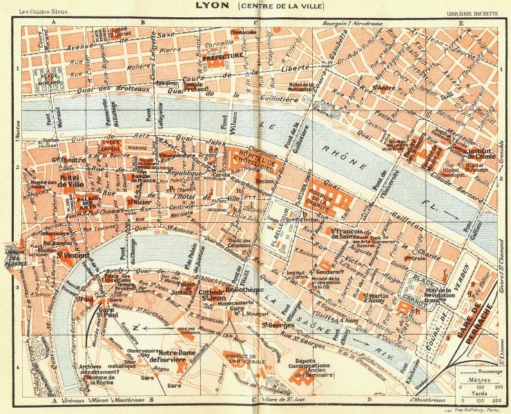 FRANCE. Lyon(Centre De La Ville) 1926 old vintage map plan chart