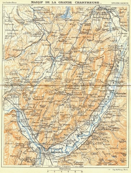 Associate Product FRANCE. Massif de Grande Chartreuse 1926 old vintage map plan