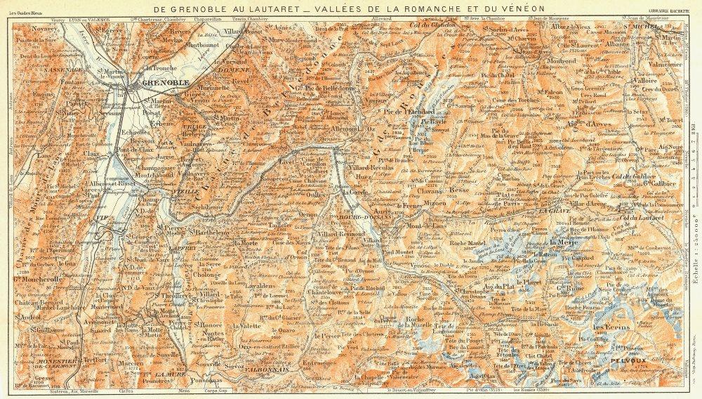 Associate Product GRENOBLE. Lautaret-Vallees Romanche Veneon 1926 old vintage map plan chart