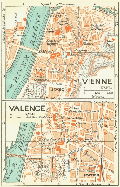 Associate Product FRANCE. Vienne; Valence 1926 old vintage map plan chart