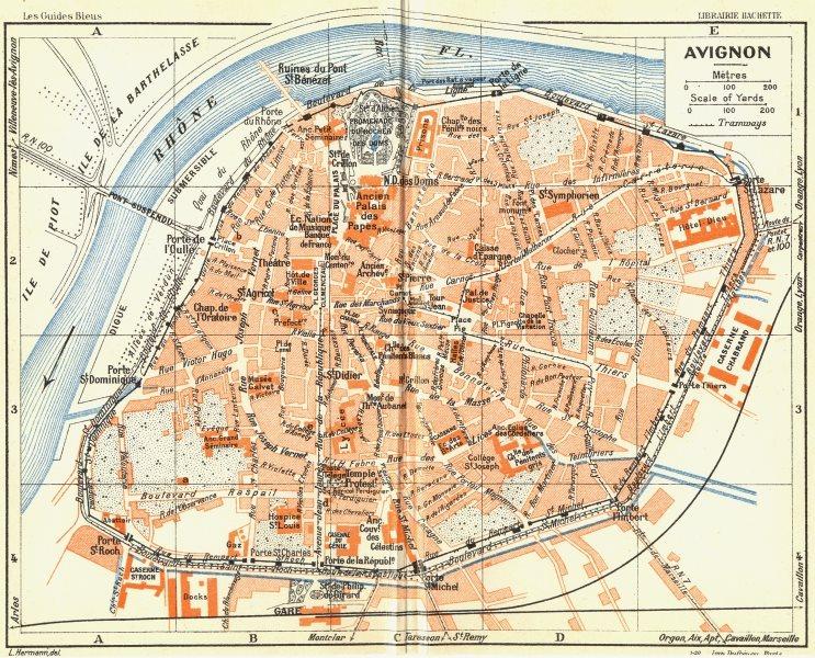 Associate Product PROVENCE. Avignon 1926 old vintage map plan chart