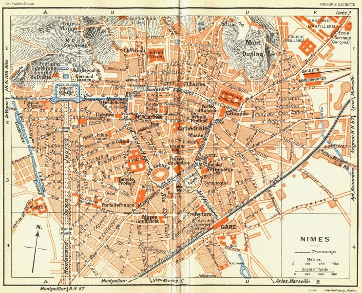 Associate Product PROVENCE. Nimes 1926 old vintage map plan chart