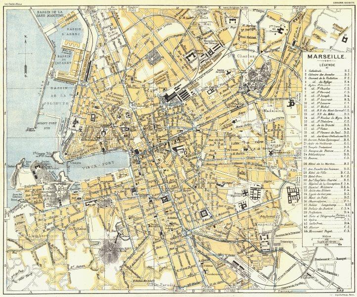 Associate Product BOUCHES DU RHONE. Marseille 1926 old vintage map plan chart