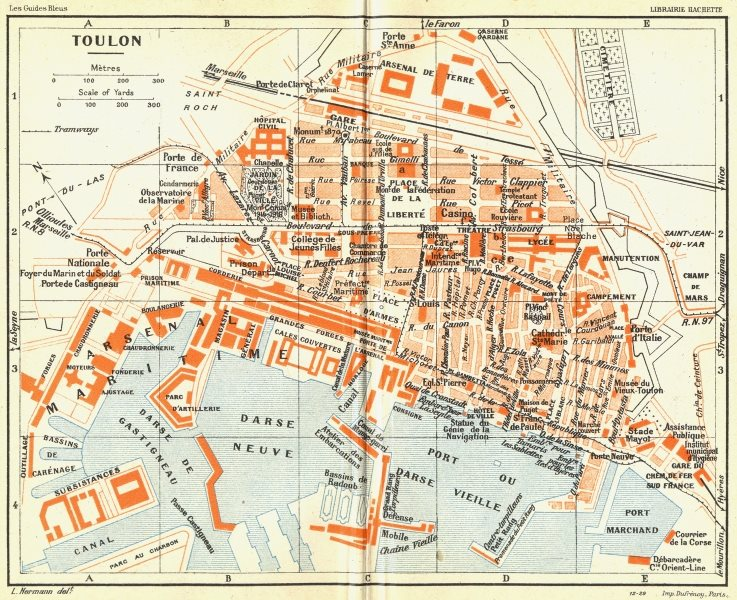Associate Product FRANCE. Toulon 1926 old vintage map plan chart