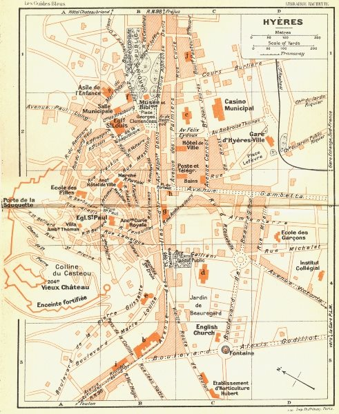Associate Product FRANCE. Hyeres 1926 old vintage map plan chart