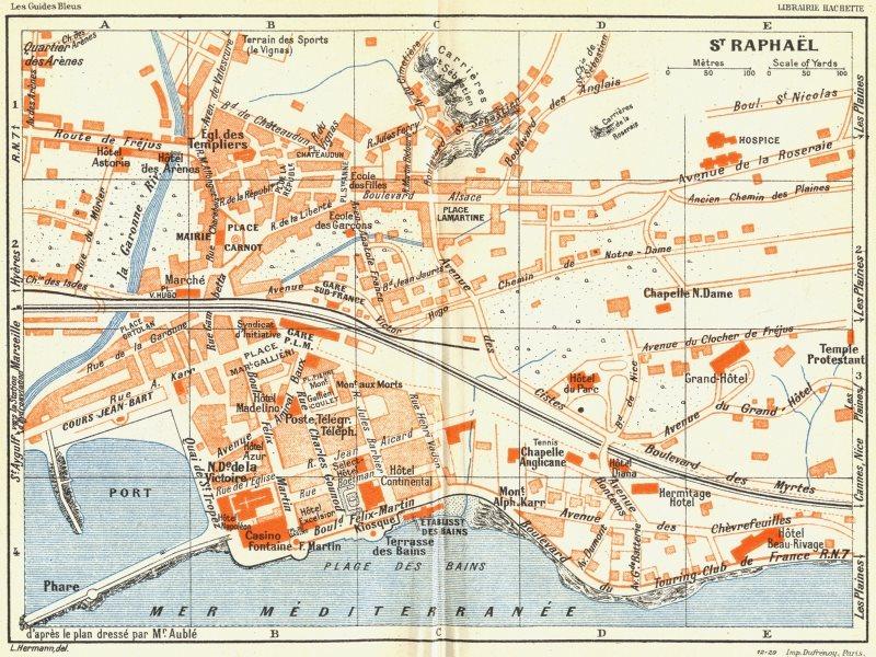 Associate Product COTE D'AZUR. St Raphael 1926 old vintage map plan chart