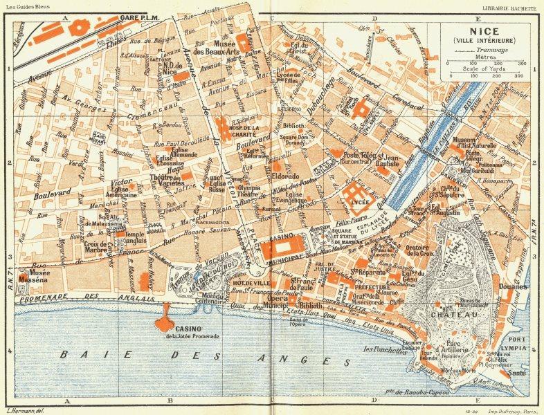 Associate Product COTE D'AZUR. Nice(Ville Interieure) 1926 old vintage map plan chart