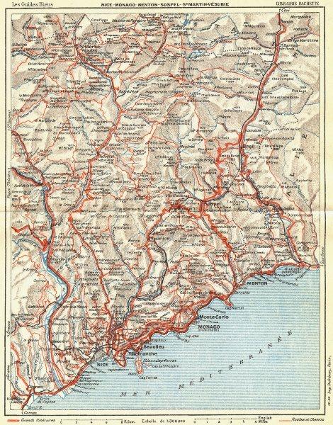 Associate Product COTE D'AZUR. Nice Monaco Menton Vesubie 1926 old vintage map plan chart
