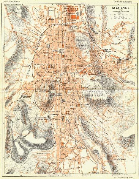 Associate Product FRANCE. St Etienne 1926 old vintage map plan chart
