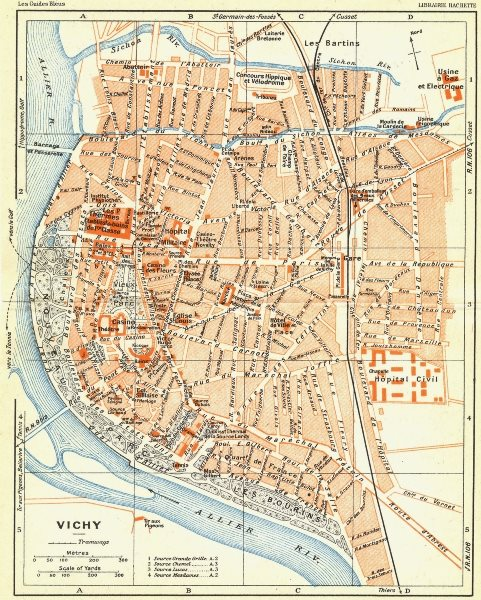 Associate Product FRANCE. Vichy 1926 old vintage map plan chart